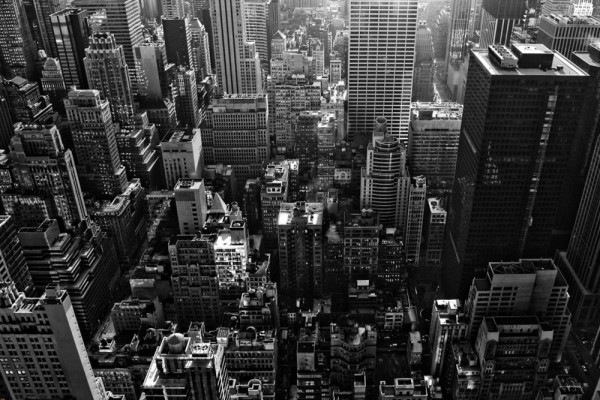 New York City Aerial Black and White